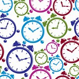 Seamless pattern with clocks, wake up idea. Simple timers, class