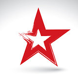 Hand drawn soviet red star icon scanned and vectorized, brush dr