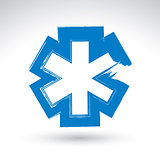 Brush drawing simple blue ambulance symbol, medicine icon, creat
