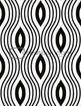 Waves seamless pattern, black and white vector background. EPS8