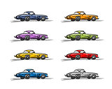 Retro sport cars, sketch for your design