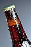 one bottle of fresh beer with drops, isolated