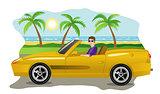 Guy on a luxury car