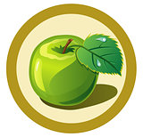 Green apple  in the circle