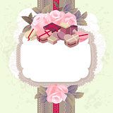 White vertical frame with branches of pink roses