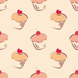 Seamless pattern or tile texture with little cupcakes