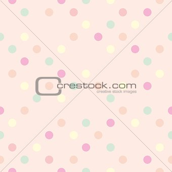 Tile pastel vector pattern with colorful polka dots on pink background