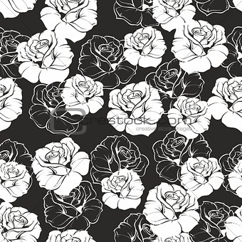 Tile vector floral pattern with white roses on black background.