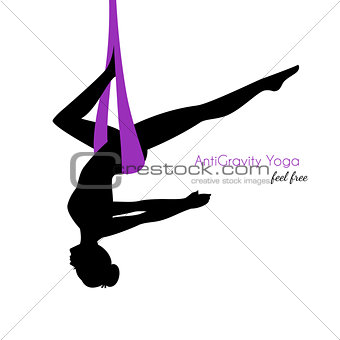 Anti-gravity yoga poses woman silhouette