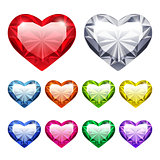 Vector Gem Hearts Set