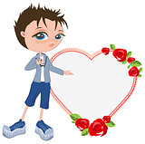 In love with boy shows heart. Template for valentines card