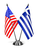 USA and Greece - Miniature Flags.