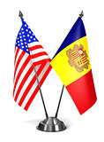 USA and Andorra - Miniature Flags.