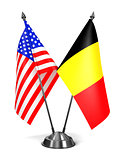 USA and Belgium - Miniature Flags.