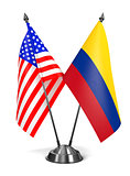 USA and Colombia - Miniature Flags.