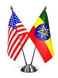 USA and Ethiopia - Miniature Flags.