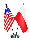 USA and Poland - Miniature Flags.