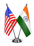 USA and India - Miniature Flags.