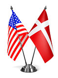 USA and Denmark - Miniature Flags.