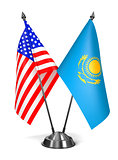 USA and Kazakhstan - Miniature Flags.