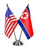 USA and North Korea - Miniature Flags.