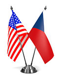 USA and Czech Republic - Miniature Flags.