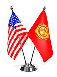 USA and Kyrgyzstan - Miniature Flags.