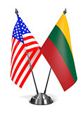 USA and Lithuania - Miniature Flags.