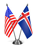USA and Iceland - Miniature Flags.