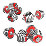 Set Iron Dumbbells Weight on White Background. 3d