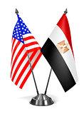 USA and Egypt - Miniature Flags.