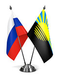Russia and Donetsk - Miniature Flags.