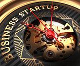 Business Startup on Black-Golden Watch Face.