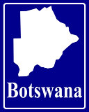 silhouette map of Botswana