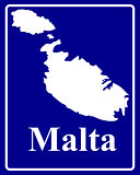 silhouette map of Malta