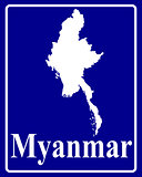 silhouette map of Myanmar