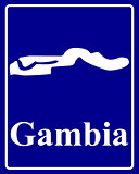 silhouette map of Gambia