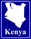 silhouette map of Kenya