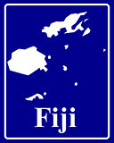 silhouette map of Fiji