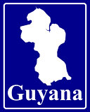 silhouette map of Guyana