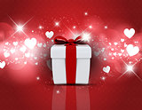 Gift box on heart design background