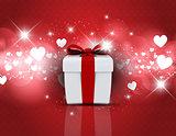 Gift box on heart design background