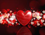 3D heart on a bokeh light background