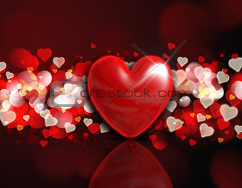 3D heart on a bokeh light background
