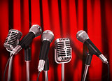 Conference meeting microphones prepared for talker over Red Curt