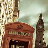 telephone booth and the Big Ben in London, United Kingdom, with