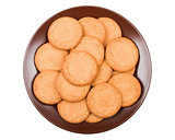 ginger biscuits on a plate on a white background