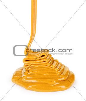 liquid caramel, isolated on white background