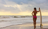Woman Bikini Surfer & Surfboard Sunset Beach