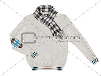 gray pullover with a scarf on a white background
